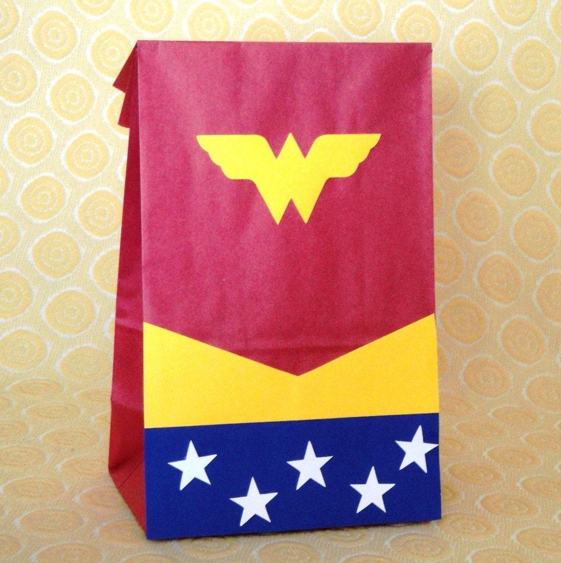 Wonder Woman Birthday Party Treat Sacks Comic Book Theme Goody