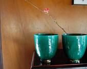 Vintage Emerald Green Brass Mid Century Vase Deco Style