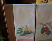 Vintage Pair Linen Japanese Tea Towels  HandEmbroiederd