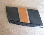 80's Black Leather Clutch Purse Angular Envelope Lizard Snake Inlay Brown Vintage 80s