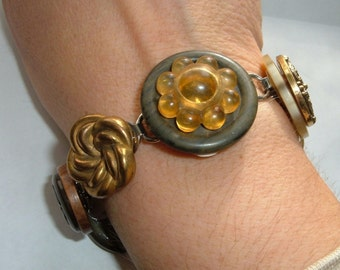 Upcycled Button Bracelet Stacked Buttons Vintage Antique Earthy Neutrals Victorian-50s Bakelite Lucite