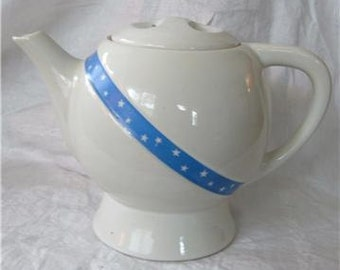 Hall Art Deco Teapot Coffee Pot SASH Drip-o-lator White Blue Stripe Stars  Vintage