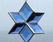 Blue Stained Glass Star Suncatcher Hanging Geometric Sculpture, Indoor Outdoor Glass Garden Art