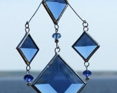 Mobile Cluster of Blue Glass Bevels and Beads and Silver Lines