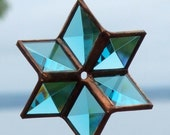 Turquoise and Copper 3D Stained Glass Star Suncatcher Ornament