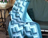 Hand Quilted Rail Fence Lap Quilt of Pieced Cotton in Shades of Blue-Green