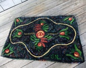 Ecofriendly Hand Hooked Rug from Red, Green, Yellow and Black, Recycled Wool Fabric  - Some German Folk Art