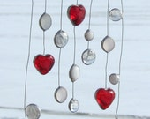 Reserved for Mary - Valentine Hearts from Heaven, Abstract Glass Mobile