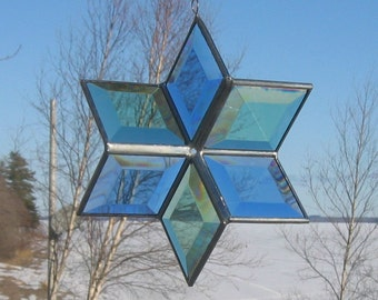 3D Geometric Stained Glass Star Suncatcher Blue Green Silver Six point Star Hanging Ornamet Indoor Outdoor Glass Art