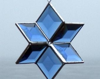 Blue Stained Glass Star Suncatcher Hanging Geometric Sculpture, Indoor Outdoor Glass Garden Art