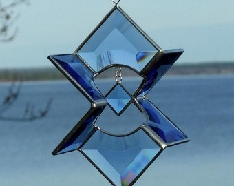 3D Blue Beveled Stained Glass Sundrop Star Suncatcher Indoor Outdoor Decor