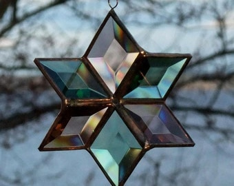 Stained Glass Star Suncatcher Sculptural Ornament Green Peach-Champagne Copper Colored Indoor Outdoor Garden Art Made in Canada