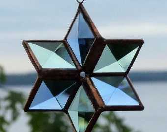 3D Geometric Beveled Stained Glass Star Suncatcher - Blue Green Copper - Indoor Outdoor Garden Art Glass Six Point Star Made in Canada