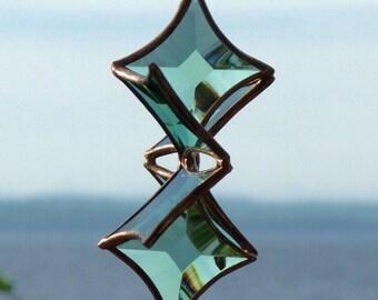 3D Green Beveled Glass Snowflake Sculpture Indoor Outdoor Garden Art Suncatcher