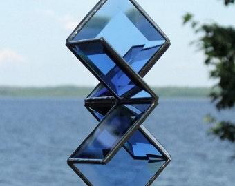 3D Blue Beveled Stained Glass Star Suncatcher Indoor Outdoor Garden Art Six Point Star Geometric Sculpture