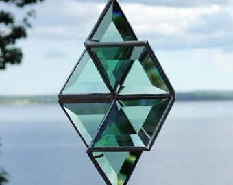 3D Green Beveled Stained Glass Star Suncatcher Hanging Six Point Star Geometric Green and Silver Ornament