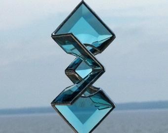 3D Stained Glass Suncatcher, Turquoise Beveled Glass Star Sundrop Hanging Ornament Geometric Indoor Outdoor Glass Garden Art