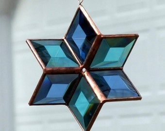 Blue Turquoise Beveled Stained Glass Star Suncatcher 3D Six Point Hanging Star Ornament Indoor Outdoor Garden Art