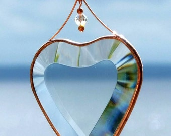 Clear Beveled Glass Heart Ornament with Beads and a Copper Line