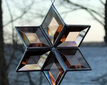 3D Beveled Stained Glass Star - Peach Champagne with Silver Lines - Medium