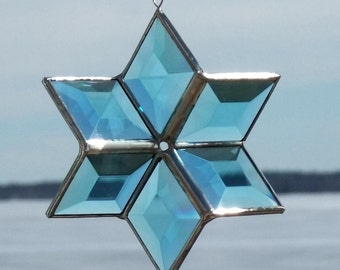 3D Turquoise and Silver Beveled Stained Glass Star