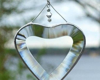 Clear Beveled Stained Glass Heart Suncatcher with Beads and a Silver Line