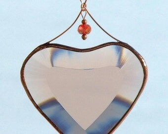 Peach Champagne and Copper Beveled Stained Glass Heart Suncatcher Ornament