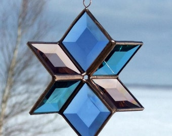 3D Beveled Glass Hanging Six Point Star - Blue, Turquoise, Peach Copper Medium Size Indoor Outdoor Glass Garden Art Handmade in Canada