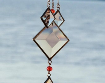 Glass and Copper Mobile Cluster of Melon Champagne Bevels and Ruby Red Beads
