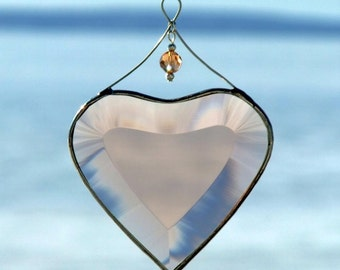 Pretty in Pink, Champagne Beveled Glass Heart Suncatcher with Beads and a Silver Line