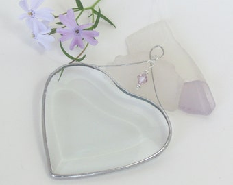 June Birtrhday Suncatcher Light Amethyst Purple Crytsal Accented Beveled Glass Heart Ornament Handmade in Canada Birthday Gift Idea