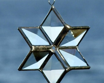 3D Clear Beveled Stained Glass Star Ornament Suncatcher Decoration