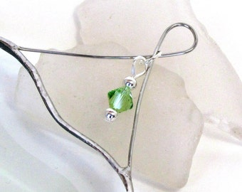 August Green Peridot Crystal Bead with Glass Heart Suncatcher