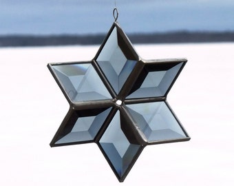 3D Grey Beveled Stained Glass Star with Silver Lines