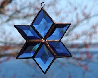Stained Glass Star Suncatcher Sculptural Geometric Blue Beveled Glass Hanging Geometric Ornament Indoor Outdoor Glass Garden Art