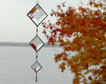 Mobile String of Clear Textured Glass Bevels and Beads Stained Glass Suncatcher Indoor Outdoor Decor Handmade in Canada