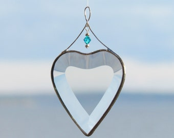 Stained Glass Heart Suncatcher with Blue Zircon Crystal Bead December Birthday Gift Idea Handmade in Canada