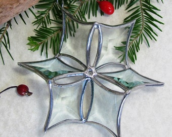 3D Beveled Glass Snowflake Suncatcher Ornament