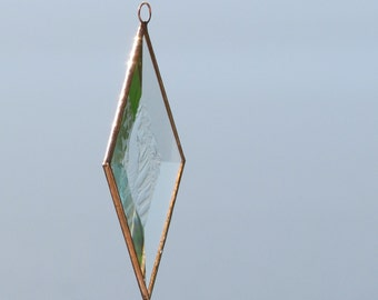 Clear and Copper Frosty Diamond Shaped Beveled Stained Glass Suncatcher Ornament