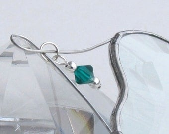 May Birthday Green Emerald Crystal Bead with Glass Heart Suncatcher
