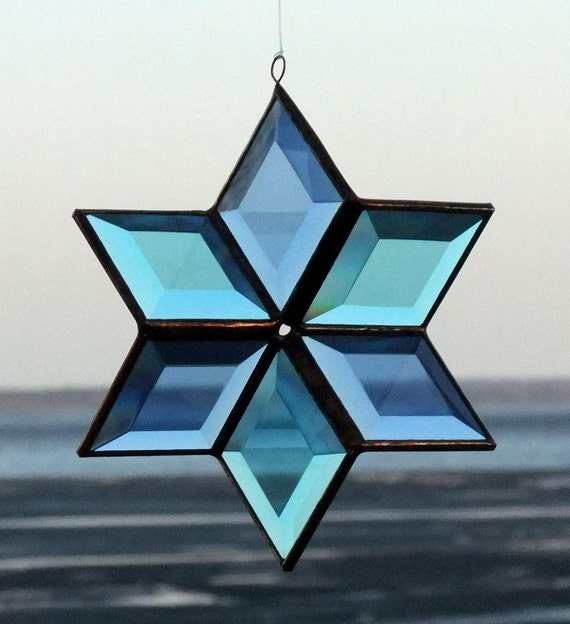 3D Blue and Turquoise Beveled Stained Glass Star Ornament with Copper Lines - Large