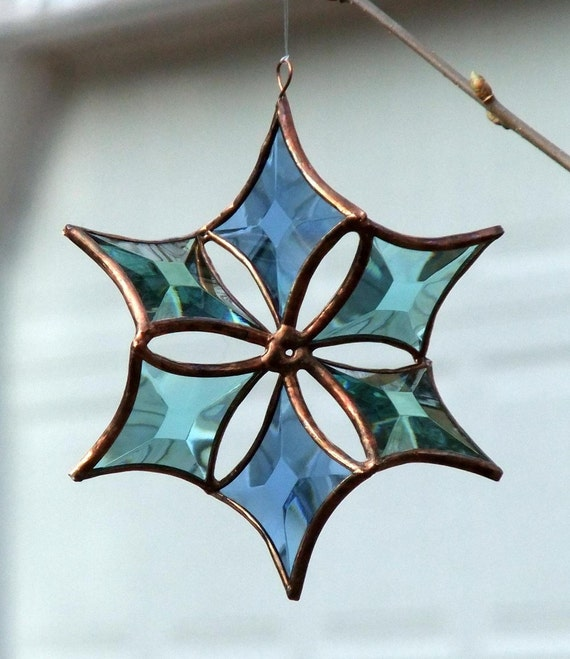 Blue, Green, Turquoise, Copper Beveled Stained Glass Snowflake Flower Indoor Outdoor Garden Art