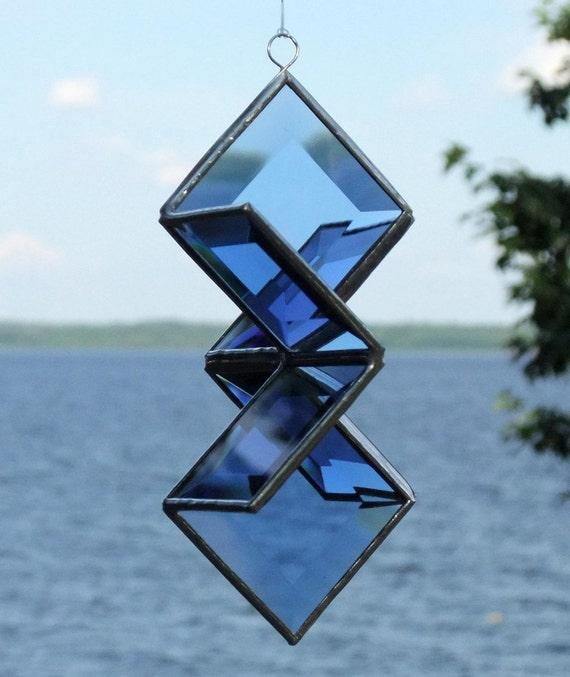 3D Blue Beveled Glass Star Sculpture Indoor Outdoor Garden Art Suncatcher