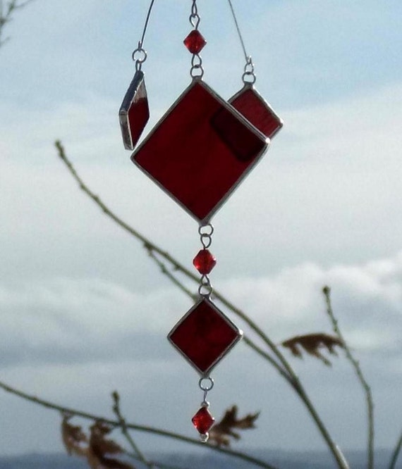 Mobile Cluster of Ruby Red Glass and Silver Lines