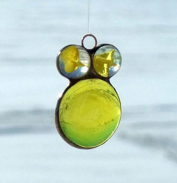 Bright Yellow Glass Marble and Nugget Ornament Gem Bug with Cateyes