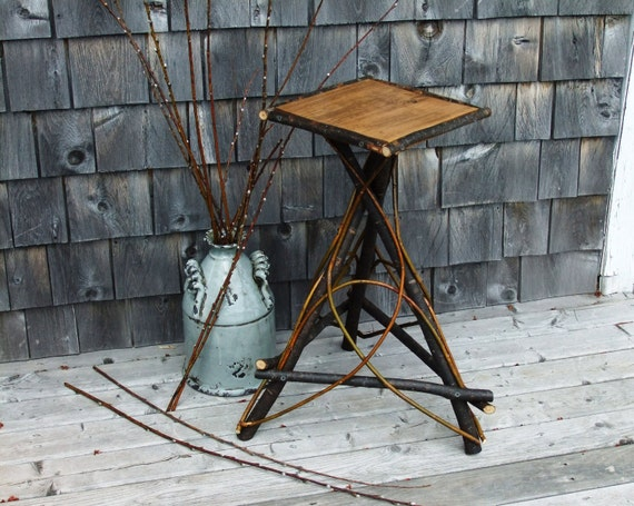 Rustic Willow Twig Bentwood Side Table  Plant Stand