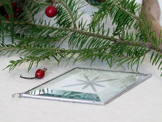 Diamond Shaped Clear Beveled Glass Ornament Suncatcher with Engraved Eight Point Star and Silver Line
