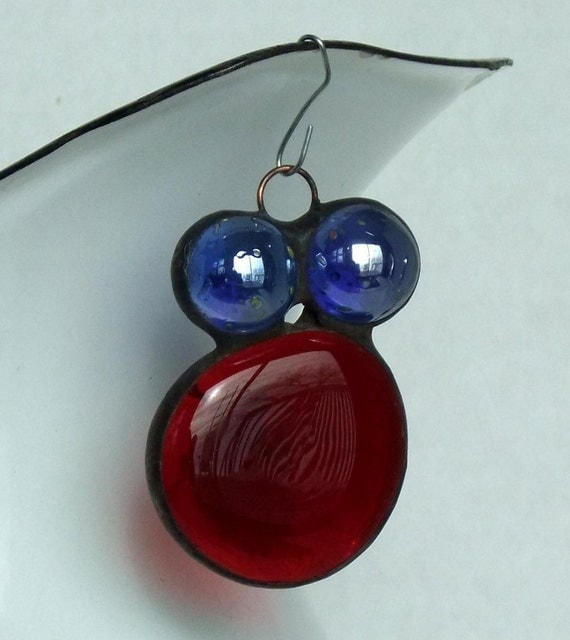 Red Gem Bug Glass Nugget Ornament Suncatcher with Blue Cleary Marble Eyes