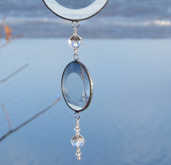 Circles and Spheres - Mobile String of Clear Glass Bevels, Crystal Glass Beads and Silver Lines