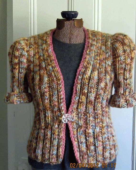 Hand Knit Multicolor Cardigan 1940's Pattern